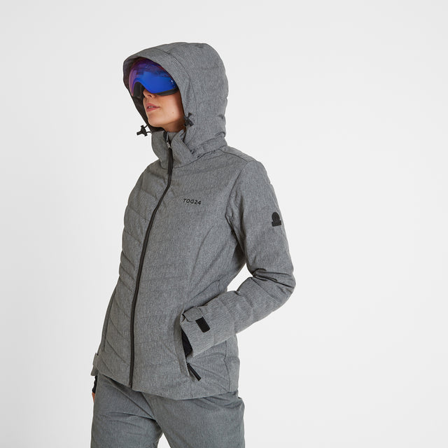 Shaw Womens Down Ski Jacket - Grey Marl image 2