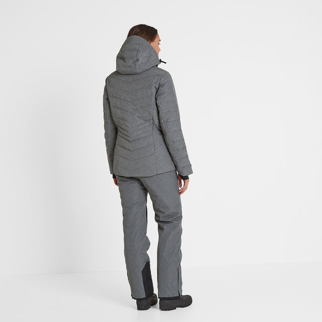Shaw Womens Down Ski Jacket - Grey Marl image 3
