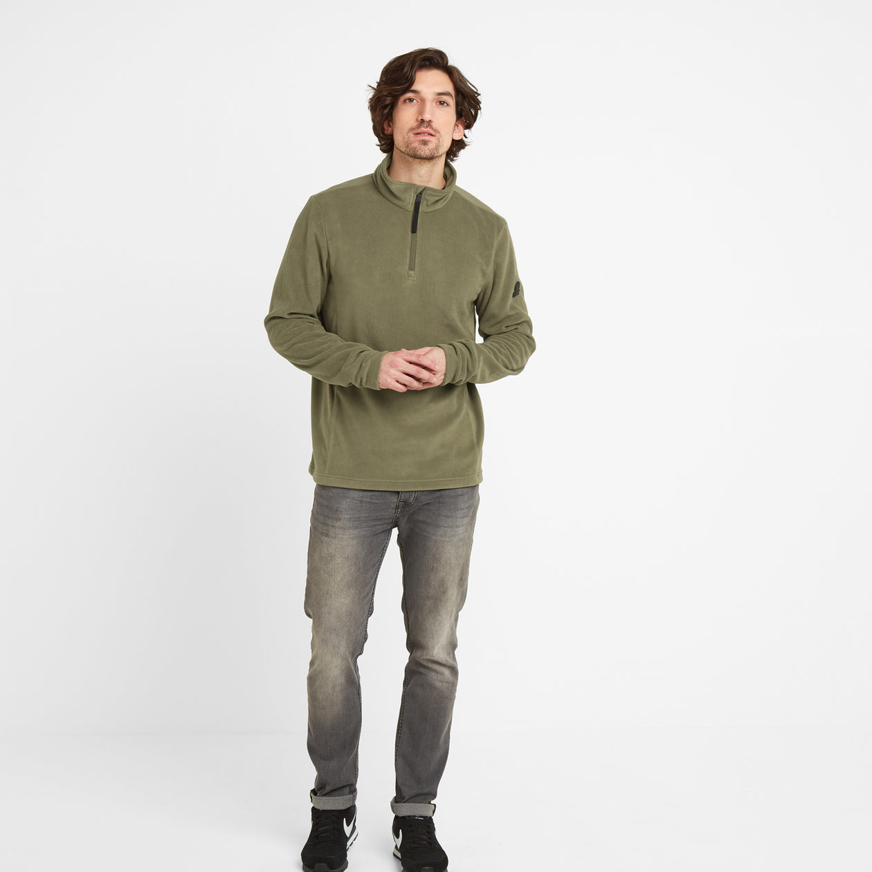 Shire Mens Fleece Zipneck - Light Khaki image 4