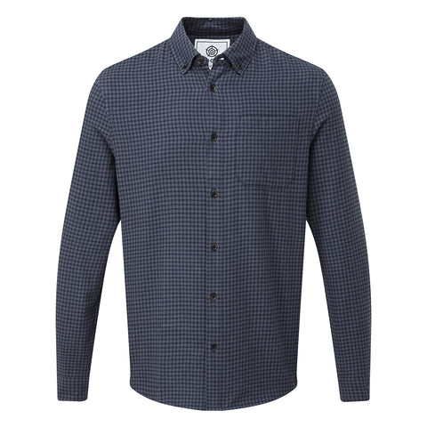 Sidney Mens Long Sleeve Small Flannel Check Shirt - Dark Indigo