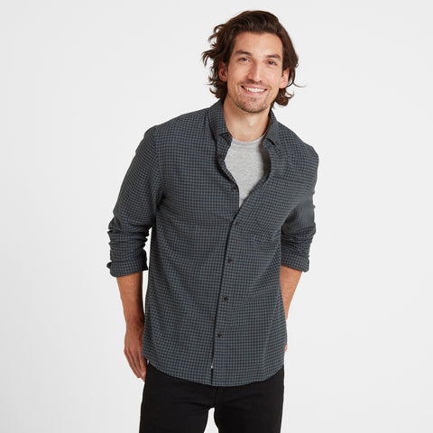 Sidney Mens Long Sleeve Small Flannel Check Shirt - Forest