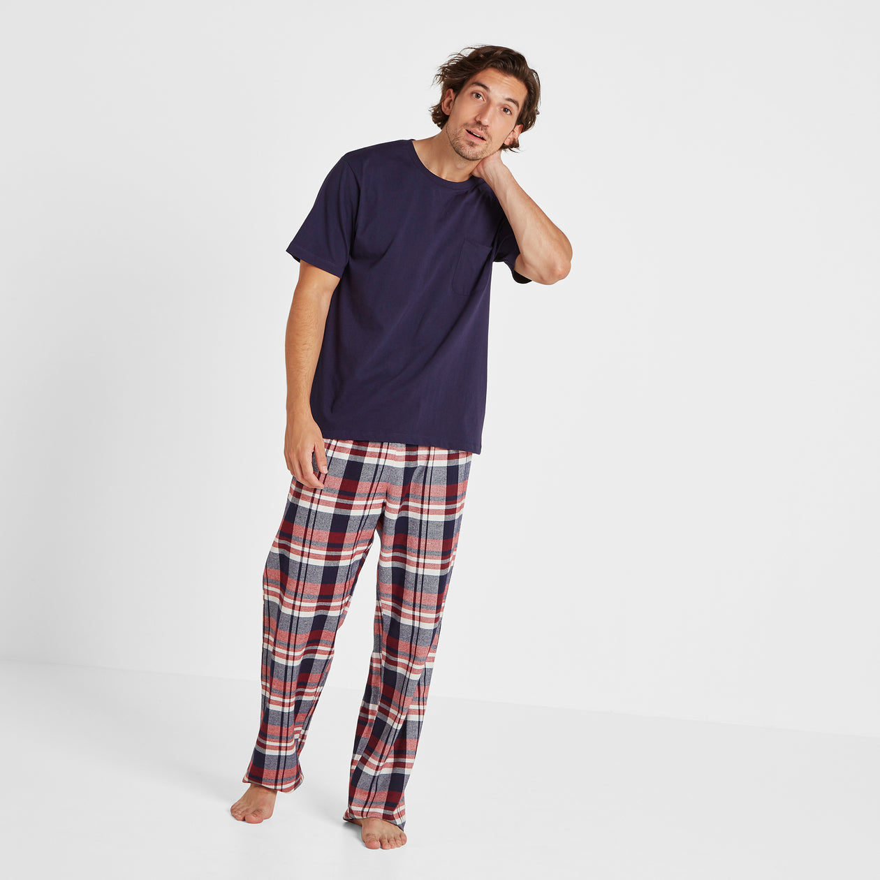 Slumber Mens Long Pyjamas - Navy/Chilli Check image 4