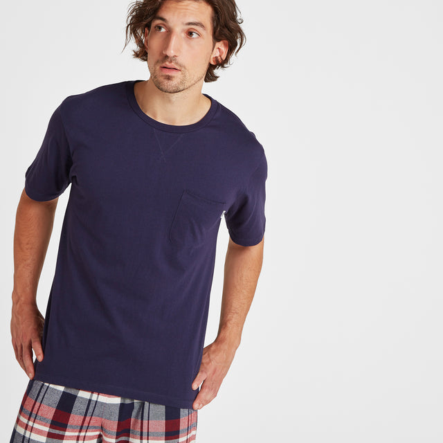 Slumber Mens Long Pyjamas - Navy/Chilli Check image 2