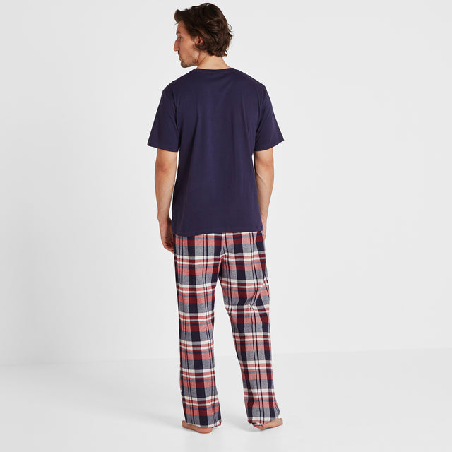 Slumber Mens Long Pyjamas - Navy/Chilli Check image 3