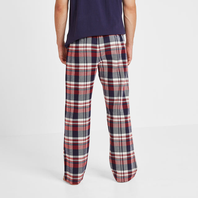 Slumber Mens Long Pyjamas - Navy/Chilli Check image 5