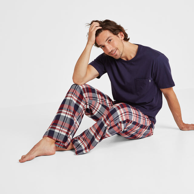 Slumber Mens Long Pyjamas - Navy/Chilli Check image 1