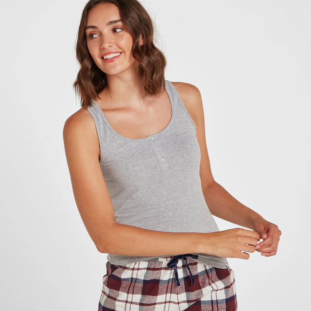 Snooze Womens Short Pyjamas - Grey Marl/Navy Check image 2