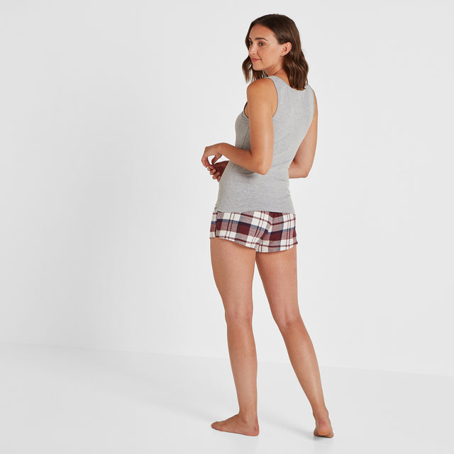 Snooze Womens Short Pyjamas - Grey Marl/Navy Check image 5