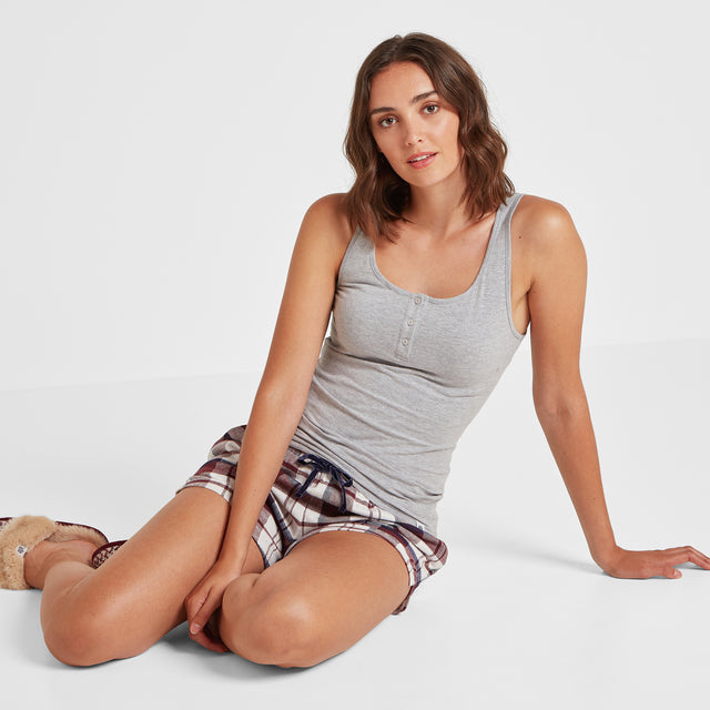Snooze Womens Short Pyjamas - Grey Marl/Navy Check image 1