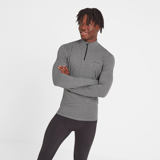 Snowdon Mens Thermal Zip Neck - Grey Marl image 1