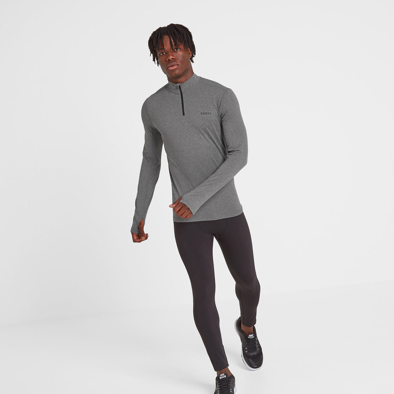 Snowdon Mens Thermal Zip Neck - Grey Marl image 4