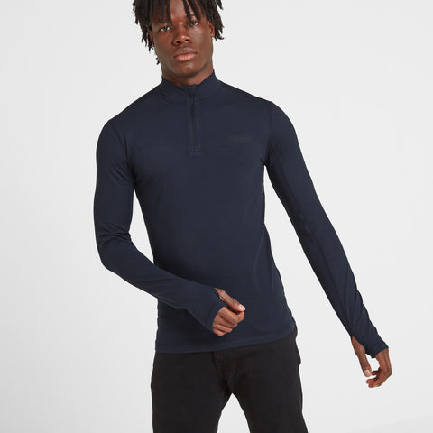 Snowdon Mens Thermal Zip Neck - Dark Indigo