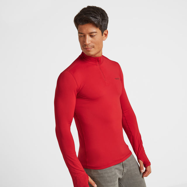 Snowdon Mens Thermal Zip Neck - Chilli Red image 2