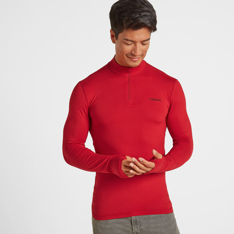 Snowdon Mens Thermal Zip Neck - Chilli Red
