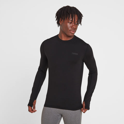 Snowdon Mens Thermal Crew Neck - Black