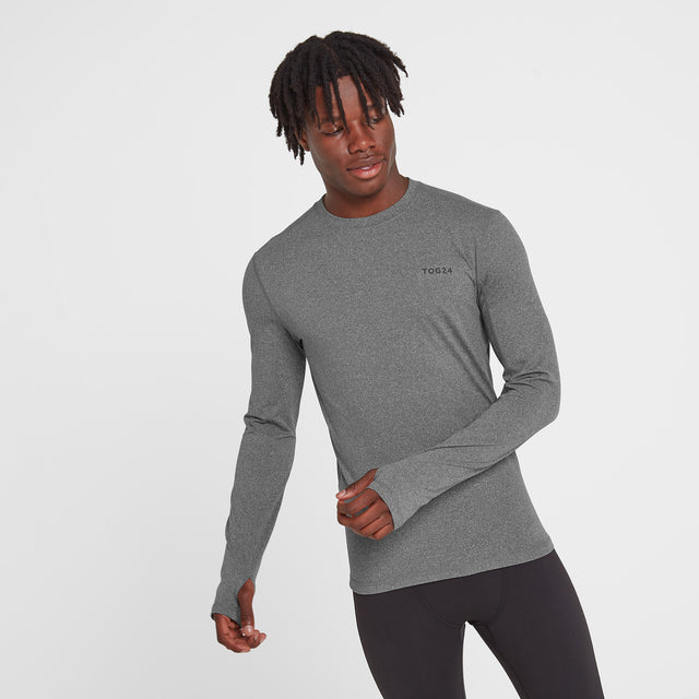 Snowdon Mens Thermal Crew Neck - Grey Marl image 1