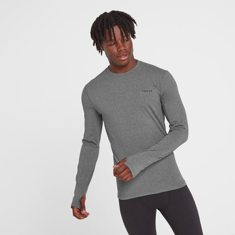 Snowdon Mens Thermal Crew Neck - Grey Marl