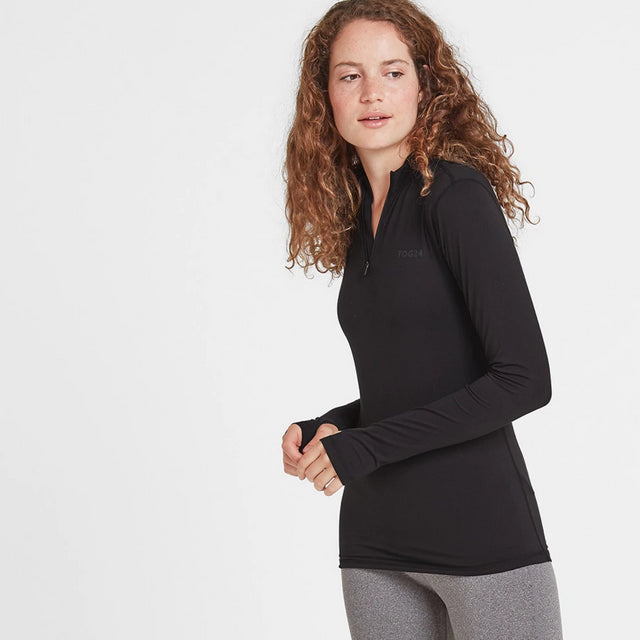 Snowdon Womens Thermal Zip Neck - Black image 2