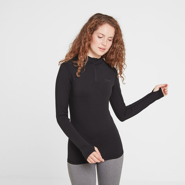 Snowdon Womens Thermal Zip Neck - Black image 1