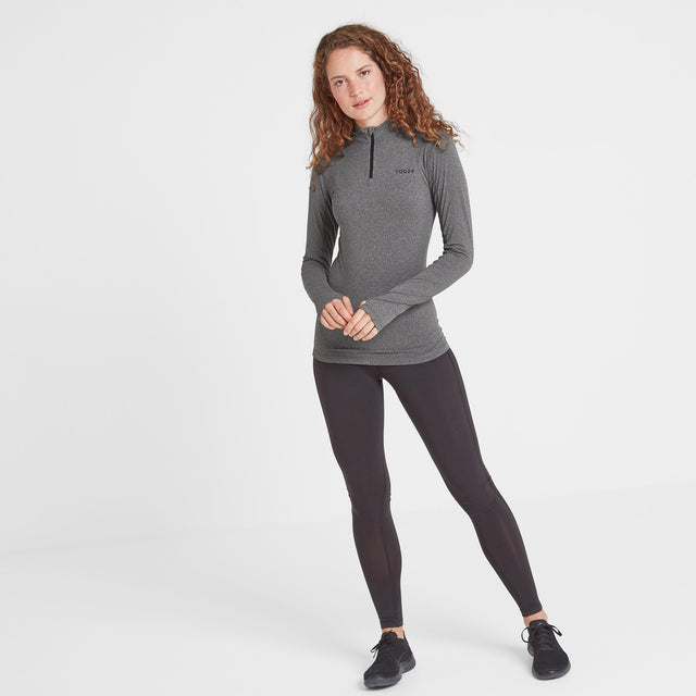 Snowdon Womens Thermal Zip Neck - Grey Marl image 2
