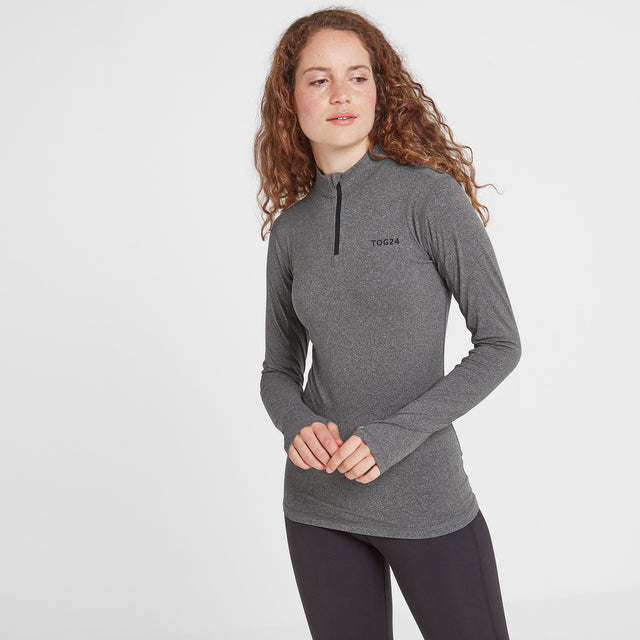 Snowdon Womens Thermal Zip Neck - Grey Marl image 1