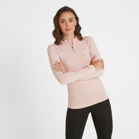 Snowdon Womens Thermal Zip Neck - Rose Pink