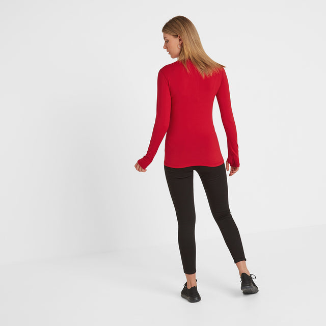 Snowdon Womens Thermal Zip Neck - Rouge Red image 2