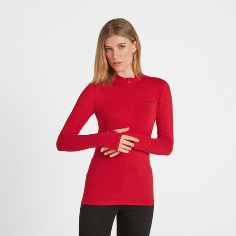 Snowdon Womens Thermal Zip Neck - Rouge Red