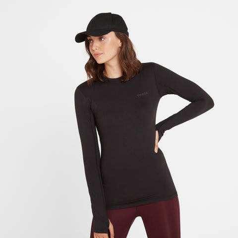 Snowdon Womens Thermal Crew Neck - Black
