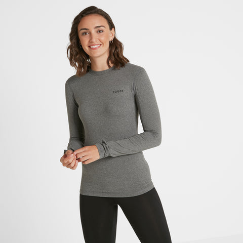 Snowdon Womens Thermal Crew Neck - Grey Marl