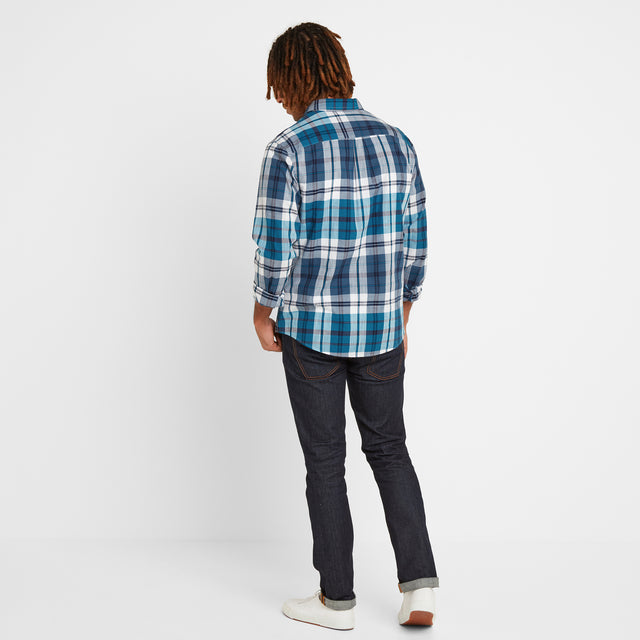 Stanton Mens Check Long Sleeve Shirt - Blue Jewel image 2
