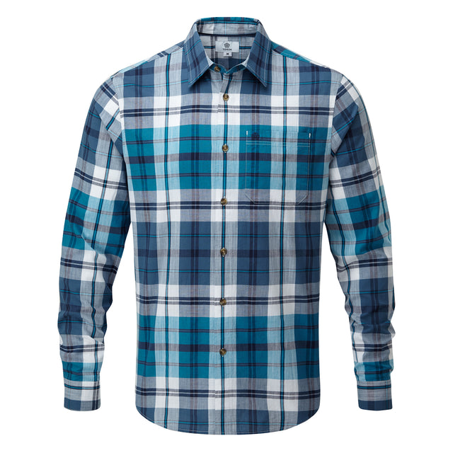 Stanton Mens Check Long Sleeve Shirt - Blue Jewel image 3