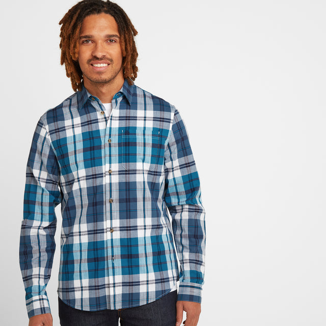 Stanton Mens Check Long Sleeve Shirt - Blue Jewel image 1