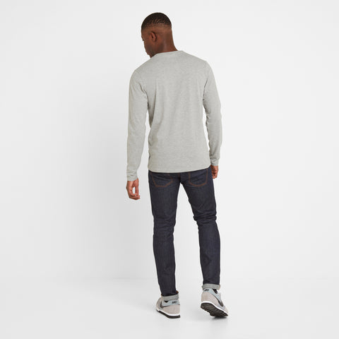 Tetley Mens Long Sleeve Grandad T-Shirt - Light Grey Marl