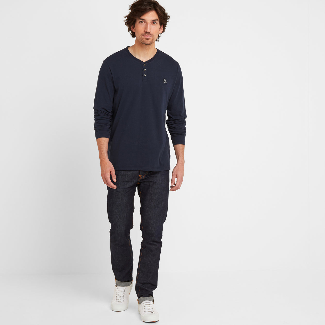 Tetley Mens Long Sleeve Grandad T-Shirt - Dark Indigo image 4