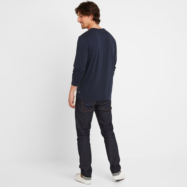 Tetley Mens Long Sleeve Grandad T-Shirt - Dark Indigo image 2