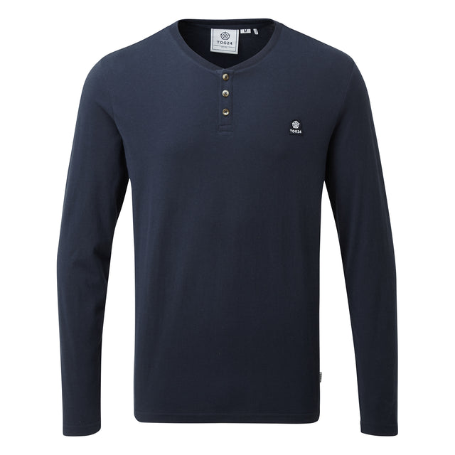Tetley Mens Long Sleeve Grandad T-Shirt - Dark Indigo image 3