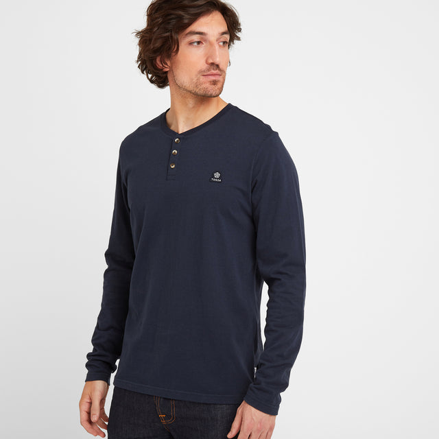 Tetley Mens Long Sleeve Grandad T-Shirt - Dark Indigo image 1
