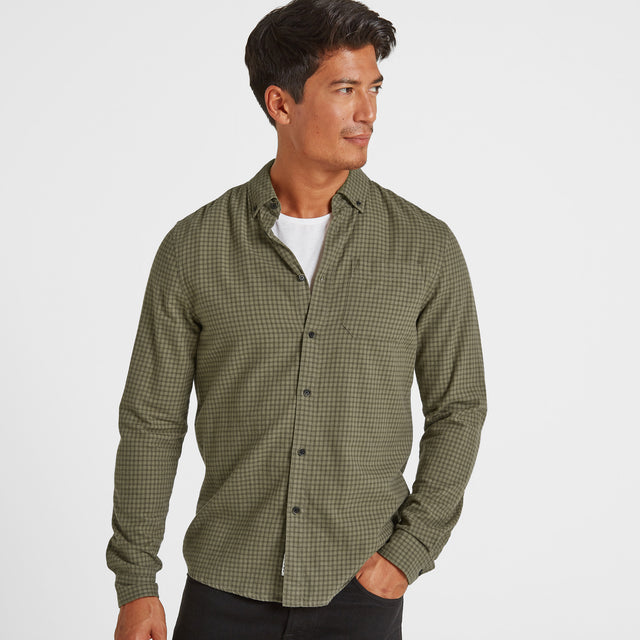 Theo Mens Long Sleeve Small Flannel Check Shirt - Dark Khaki Check image 1