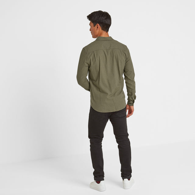 Theo Mens Long Sleeve Small Flannel Check Shirt - Dark Khaki Check image 2