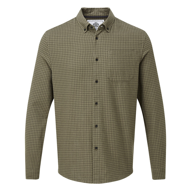 Theo Mens Long Sleeve Small Flannel Check Shirt - Dark Khaki Check image 3