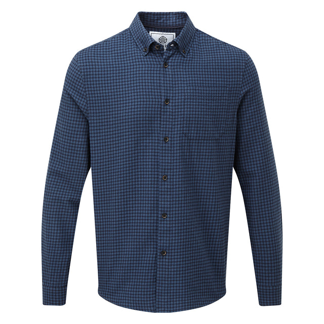 Theo Mens Long Sleeve Small Flannel Check Shirt - Navy Check image 3