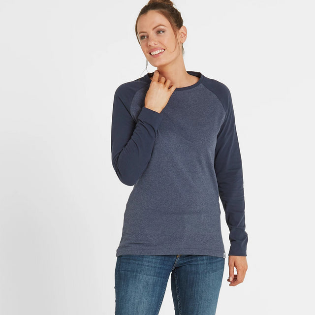Thirn Womens Long Sleeve Raglan T-Shirt - Indigo Marl/Dark Indigo image 2
