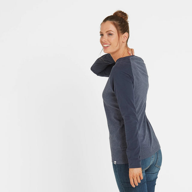 Thirn Womens Long Sleeve Raglan T-Shirt - Indigo Marl/Dark Indigo image 3