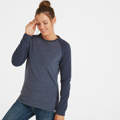 Thirn Womens Long Sleeve Raglan T-Shirt - Indigo Marl/Dark Indigo