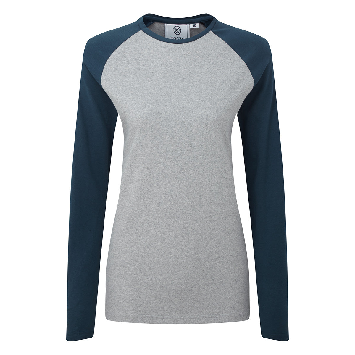Thirn Womens Long Sleeve Raglan T-Shirt - Ice Grey Marl/Atlantic image 4
