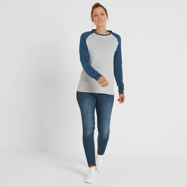 Thirn Womens Long Sleeve Raglan T-Shirt - Ice Grey Marl/Atlantic image 2