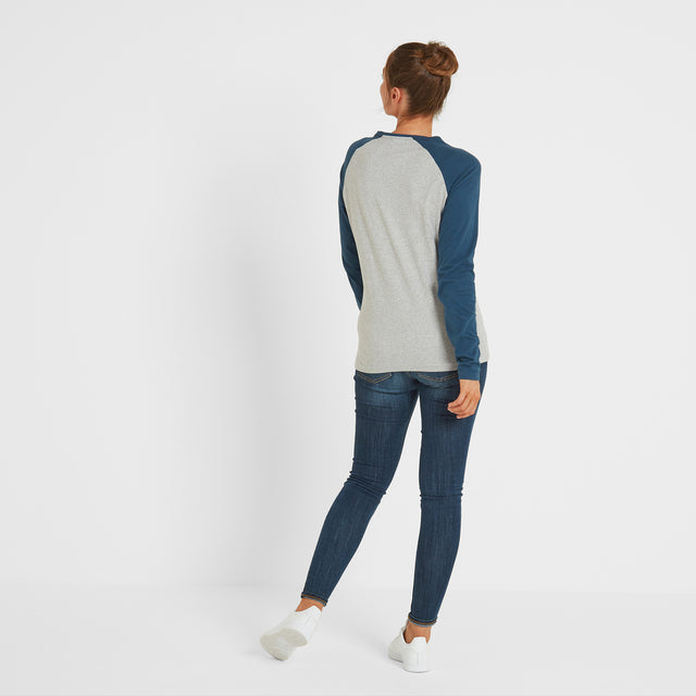 Thirn Womens Long Sleeve Raglan T-Shirt - Ice Grey Marl/Atlantic image 3