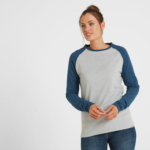 Thirn Womens Long Sleeve Raglan T-Shirt - Ice Grey Marl/Atlantic