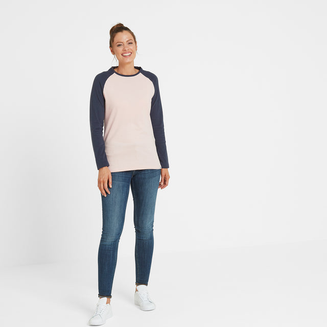 Thirn Womens Long Sleeve Raglan T-Shirt - Rose Marl/Dark Indigo image 2
